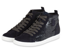 Hightop-Sneaker mit Pailleten - blau