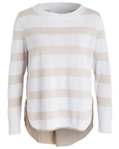 Pullover mit Leinenanteil - weiss/ sand