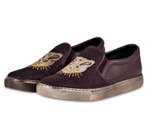 Slip-on-Sneaker - bordeaux / gold metallic