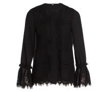 Bluse mit Spitzenbesatz - schwarz