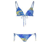 Triangel-Bikini - blau/ gelb