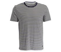 T-Shirt - navy/ creme/ oliv gestreift