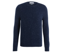 Cashmere-Pullover - navy/ wollweiss