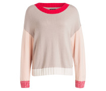 Pullover - rot/ taupe/ hellrosa