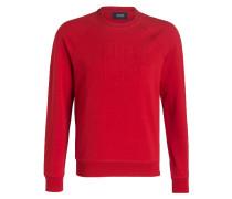 Sweatshirt mit monochromem Logoprint - rot