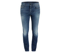 Destroyed-Jeans Skinny-Fit - blau