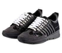 Sneaker mit Paillettenbesatz - schwarz