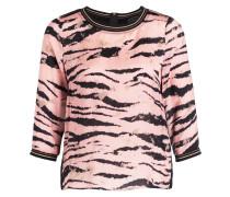 Bluse im Materialmix - schwarz/ rosa
