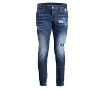 Destroyed-Jeans Slim-Fit - blau