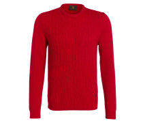 Strickpullover PETTER mit Zopfmuster - rot