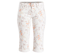 Capri-Hose MARINA - weiss/ orange/ taupe