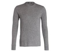 Lambswool-Pullover - grau meliert