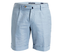 Shorts Slim-Fit mit Leinenanteil - blau