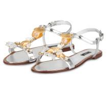 Sandalen mit Schmucksteinbesatz - silber
