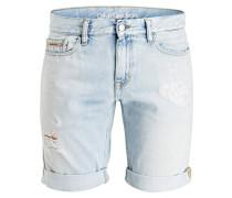 Destroyed-Jeans-Shorts Slim-Fit - blau