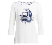 Shirt mit 3/4-Arm - weiss/ dunkelblau