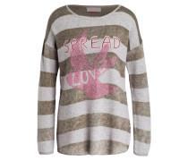 Pullover - oliv/ grau meliert/ pink