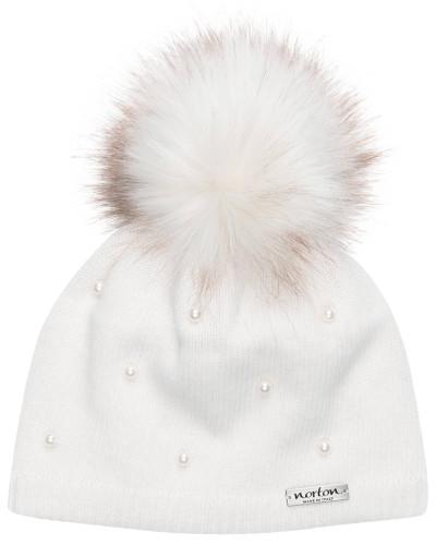 Mütze mit Perlenbesatz und Kunstpelzbommel
