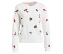 Sweatshirt mit Stickereien - weiss