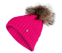 Grobstrick-Mütze mit Pelzbommel - pink