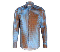Hemd Slim-Fit - blau/ braun