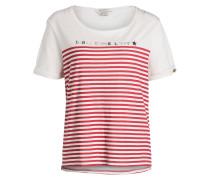 T-Shirt - ecru/ rot gestreift