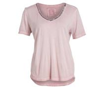 T-Shirt mit Paillettenbesatz - rosa