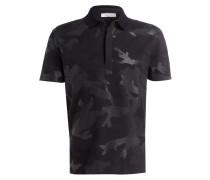 Piqué-Poloshirt - schwarz/ dunkelgrün