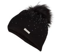 Mütze mit Pelzbommel - schwarz/ dunkelgrau
