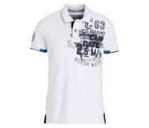 Piqué-Poloshirt - weiss/ blau/ schwarz