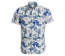 Halbarm-Hemd Slim-Fit - blau/ weiss