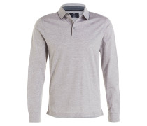 Jersey-Poloshirt - grau meliert