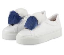 Plateau-Sneaker mit Fell-Pompon - weiss