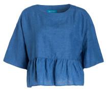 Bluse DROP mit Leinenanteil - blau