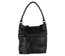 Hobo-Bag mit Nietebesatz - schwarz