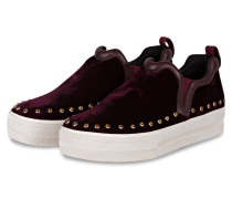 Slip-on-Sneaker aus Samt - bordeaux