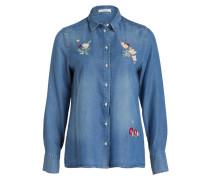 Jeansbluse mit Stickereien - blau