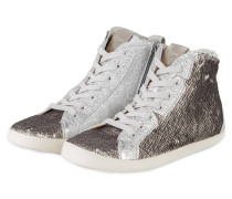 Hightop-Sneaker mit Paillettenbesatz