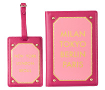 Set: Passhülle und Kofferanhänger MILAN TOKYO BERLIN PARIS