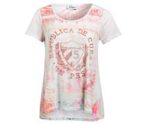 T-Shirt - weiss/ rot/ rosa