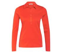 Jersey-Poloshirt mit Schmucksteinbesatz