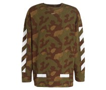 Sweatshirt - weiss/ grün/ oliv