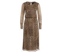 Midi-Kleid - schwarz/ braun/ beige