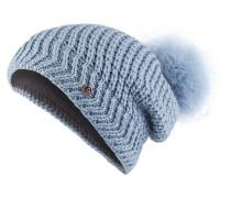 Mütze LEA mit Fellbommel - hellblau