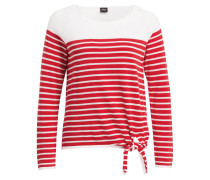 Pullover - weiss/ rot