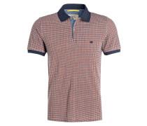 Piqué-Poloshirt - orangerot/ navy/ weiss