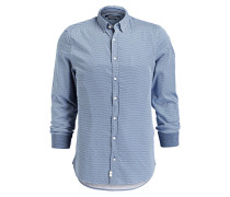 Hemd Shaped-Fit - blau/ weiss