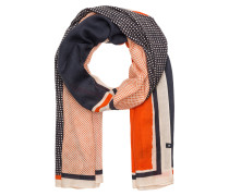 Schal - orange/ weiss/ navy
