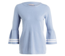 Cashmere-Pullover - hellblau/ weiss