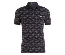Jersey-Poloshirt - schwarz/ grau